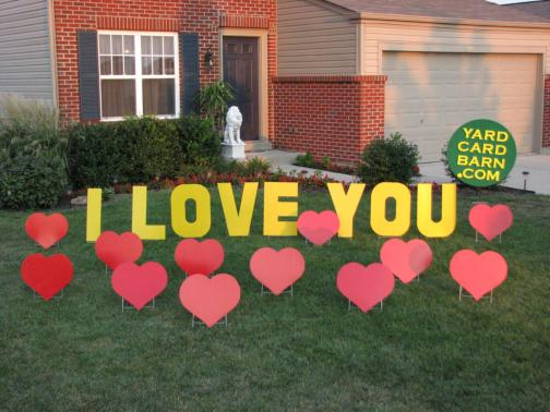 i love you lawn letters 12 red hearts