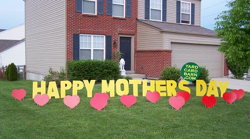 happy mothers day lawn letters 12 red hearts