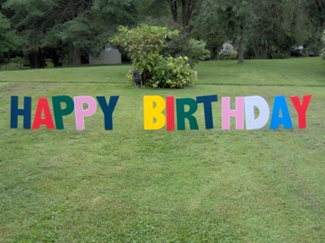 colorful happy birthday lawn letters up to 12 characters of your choice